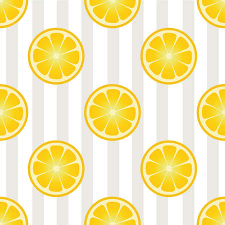 Summer vector pattern. Seamless background with lemon slice