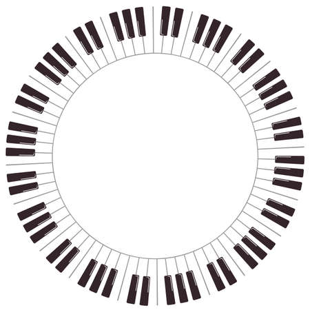 Klawisze fortepianu kreskówka. Wektor okrągła rama na białym tle