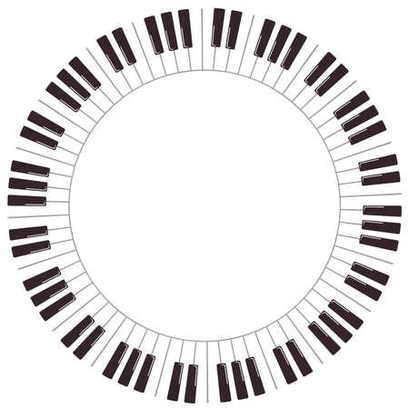 Cartoon piano keys. Vector round frame isolated on white background