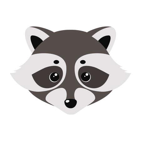 Cara linda de mapache. Ilustración vectorial sobre fondo blanco Ilustración de vector