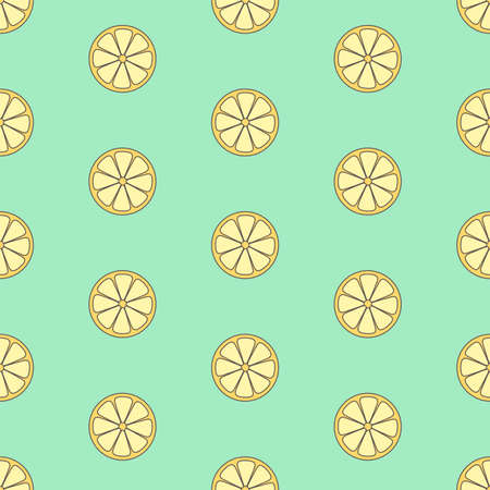 Cartoon lemon slice pattern. Seamless vector illustration
