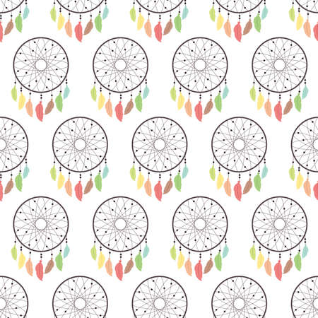 Colorful dreamcatcher. Seamless vector pattern on white background Ilustração