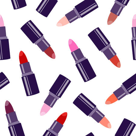 Lipstick. Vector seamless pattern isolated on white background