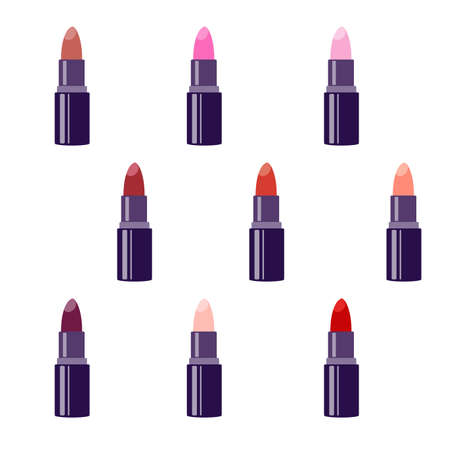 Lipstick. Vector set isolated on white background