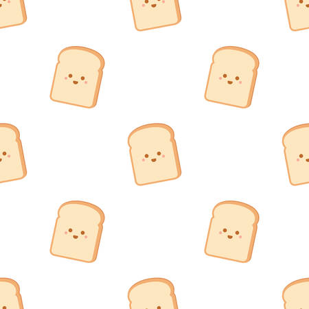 Cartoon bread slices. Seamless vector pattern isolated on white background