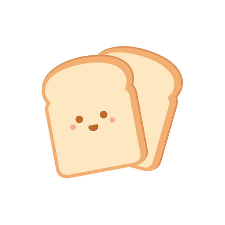 Cartoon bread slices. Vector illustration isolated on white background