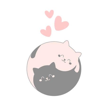 Cute cat lovers. Cartoon vector illustration.