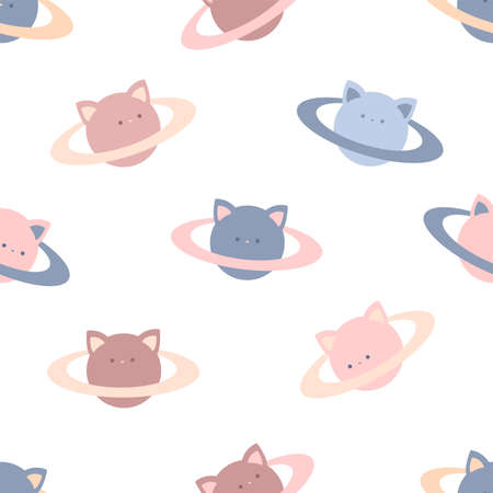 Cat planets. Seamless vector pattern on white background