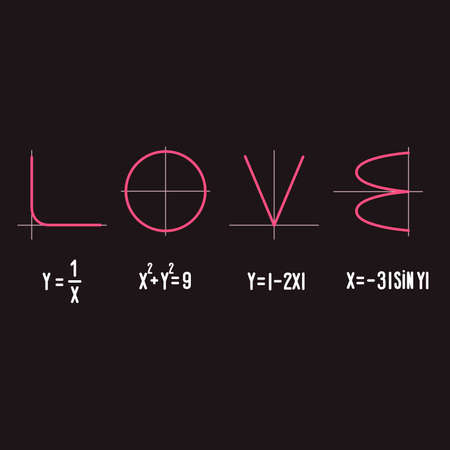 Formula of love. Vector illustration. Happy Valentines Day 向量圖像
