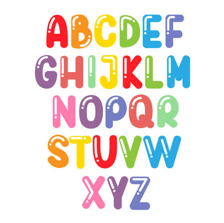 Cartoon colorful alphabet set. Vector letters Ilustrace