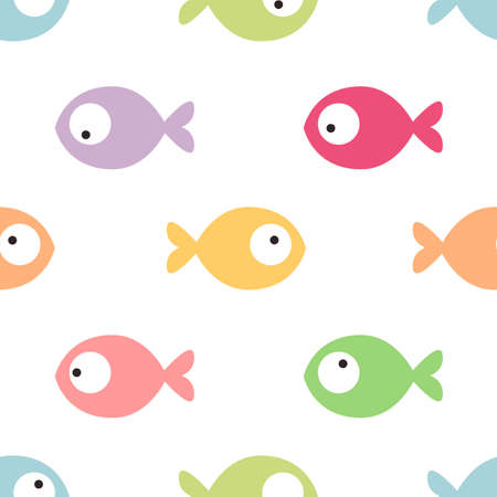 Colorful funny fish seamless pattern. Vector illustration.