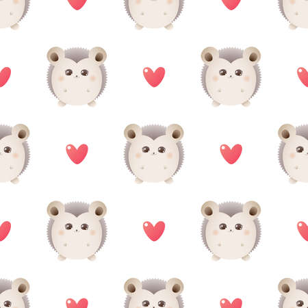 Cute hedgehog. Vector seamless pattern with hearts