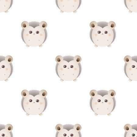 Cute hedgehog. Vector seamless pattern isolated on white background