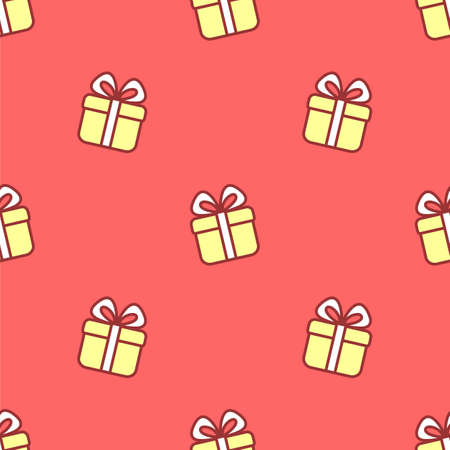Cute little gift seamless vector pattern. Cartoon style