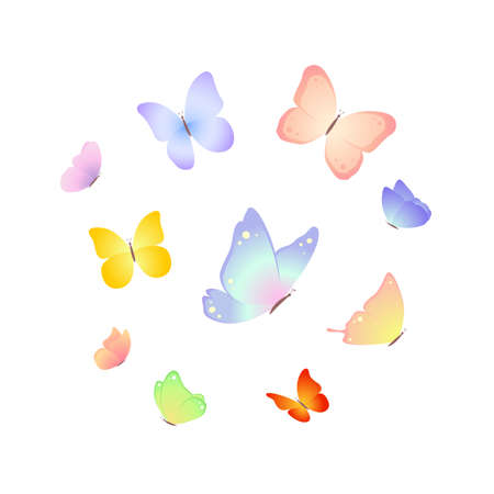 Butterflies. Vector illustration isolated on white background