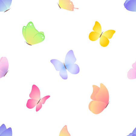 Pattern with butterflies. Seamless vector background isolated on white