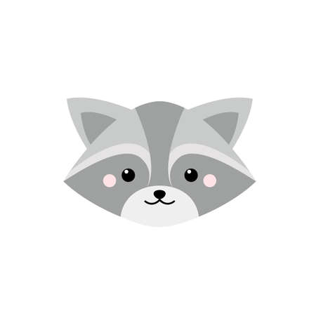 Cute raccoon face. Cartoon vector illustration in flat style