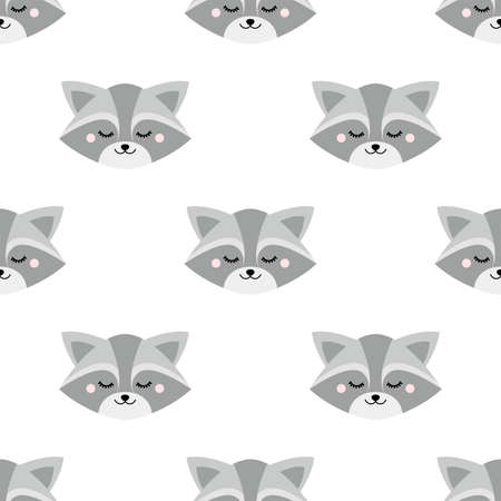 Cute sleepy raccoon face. Seamless vector pattern in flat style