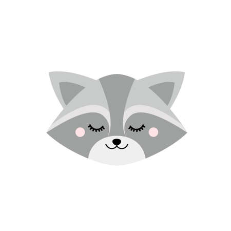 Cute sleepy raccoon face. Vector illustration