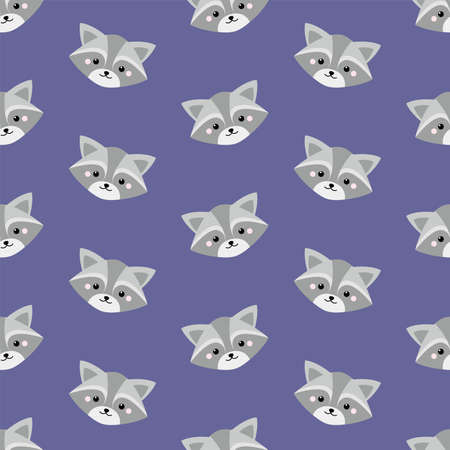 Cute raccoon face. Seamless vector pattern in flat style
