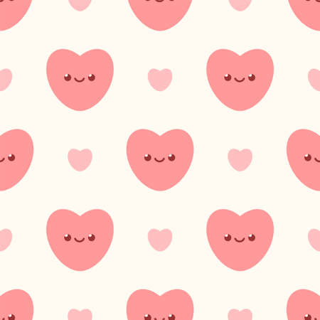 Cute little  pink hearts. Seamless vector pattern Ilustrace