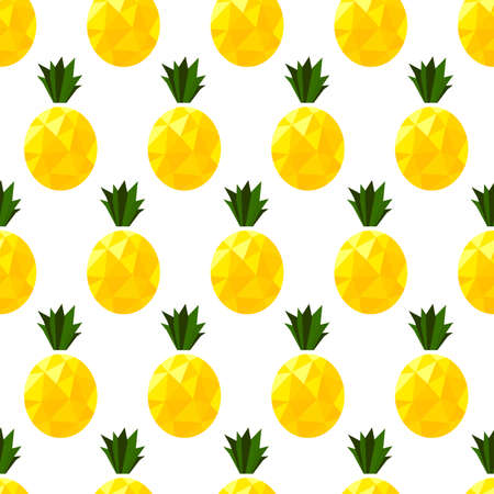 Isolated low poly pineapple. Fruit vector seamless pattern