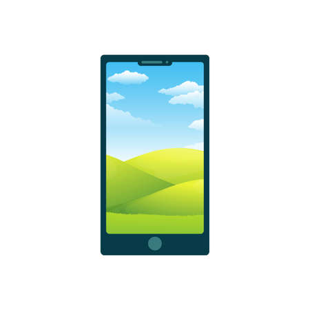 Cartoon phone with background. Vector illustration