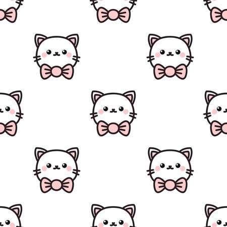 Cute cartoon cat. Seamless vector pattern
