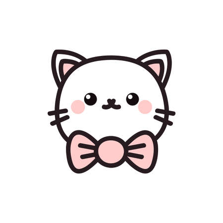 Cute cartoon cat icon. Vector illustration