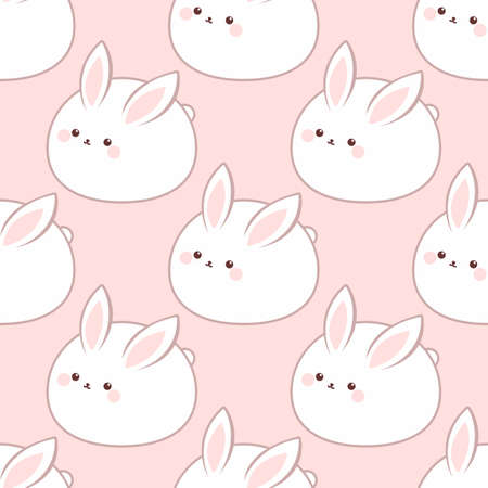 Cute fat rabbit. Seamless vector pattern