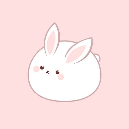 Cute fat rabbit icon. Vector illustration