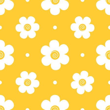 Chamomile seamless vector pattern on yellow background