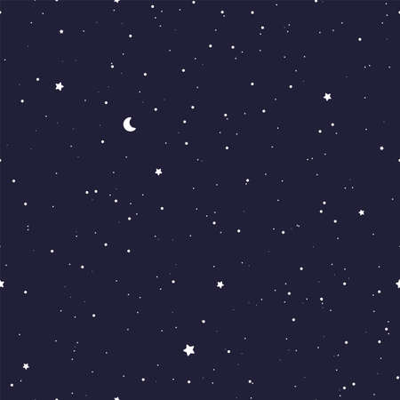 Starry night sky pattern. Vector seamless background