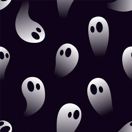 Little spooky ghosts. Seamless Halloween Pattern Ilustrace