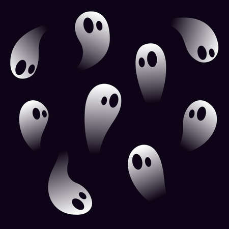 Spooky little ghosts. Halloween vector set.