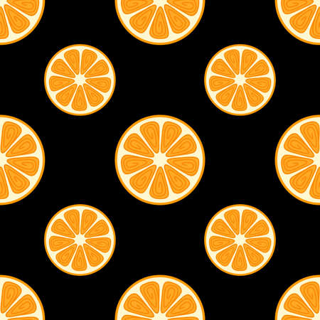 Abstract orange. Seamless vector pattern on black background Ilustrace