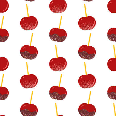 Glazed caramel apple. Seamless vector pattern in flat style