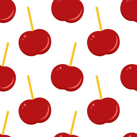Classic caramel apple. Seamless vector pattern on white background