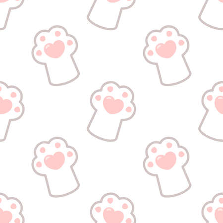 Cute cartoon cat paw. Seamless vector pattern Ilustrace