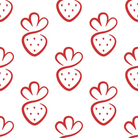Simple strawberry. Cute vector background. Seamless pattern Иллюстрация
