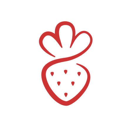 Simple strawberry icon. Vector illustration isolated on white background