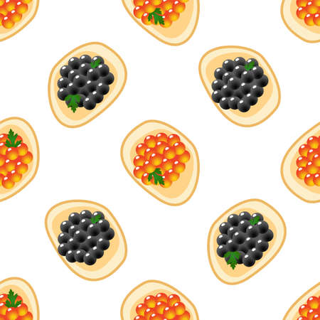 Red and black caviar on a piece of bread. Seamless pattern
