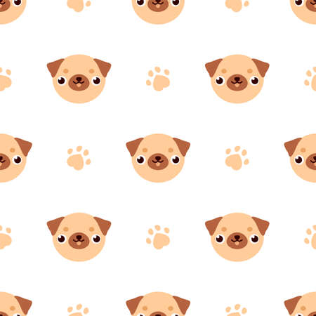 Funny pug with paw. Seamless pattern Ilustrace