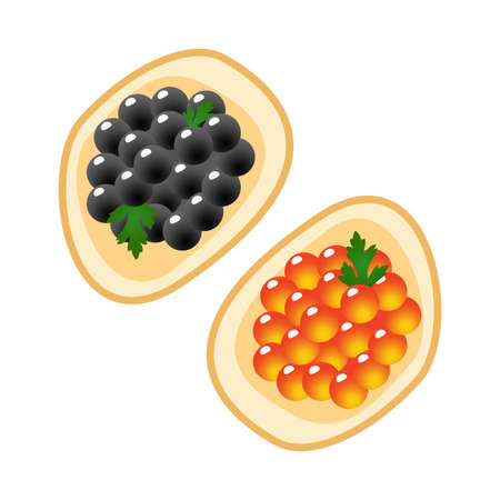 Red and black caviar on a piece of bread. Illustration