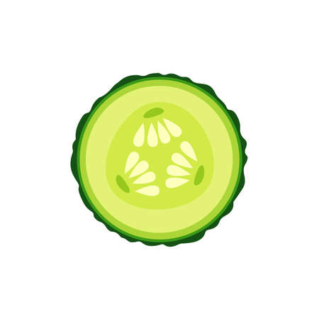 Icône de dessin animé de tranche de concombre. Illustration vectorielle