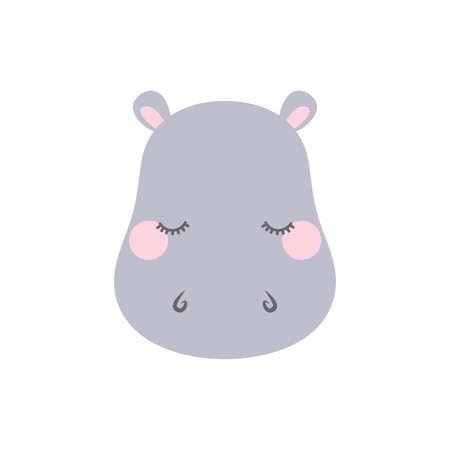 Cute sleepy hippo. Cartoon vector illustration in flat style