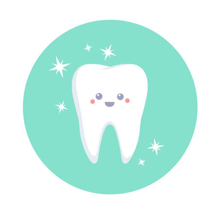 Cute happy tooth. Vector illustration isolated on white background