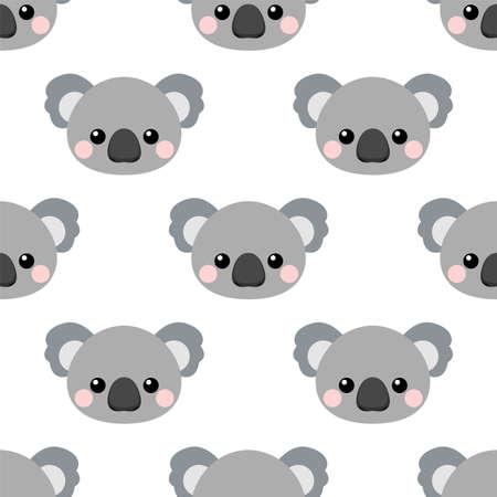 Cute koala face. Cartoon seamless vector pattern