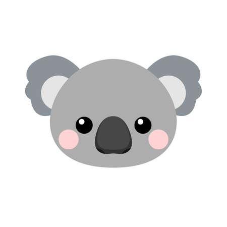Cute koala face. Vector illustration isolated on white background