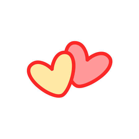 Cute pair of hearts icon. Vector illustration isolated on white background